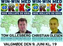 Optagelser fra Tom Gillesbergs og Christian Olesens valgmøde tirsdag den 9. juni