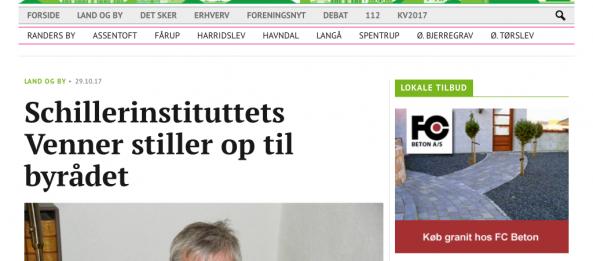 Randers netavis om Schiller Instituttets kandidat Poul Gundersen