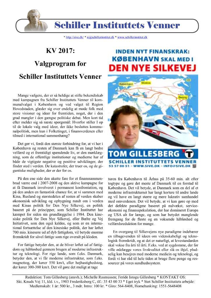 Schiller Instituttets Venners Valgprogram