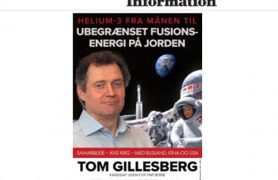Information skriver om Tom Gillesbergs plakat, den 13. maj 2019