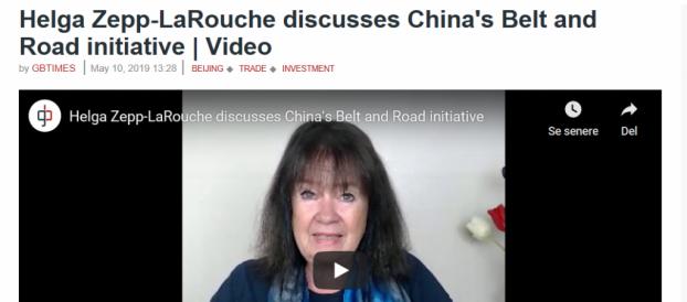Den Nye Silkevej — Bælte og Vej-Initiativet — og Europa. GBTimes.com interview med Schiller Instituttets internationale formand Helga Zepp-LaRouche